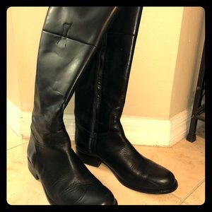 Black leather cropped boots